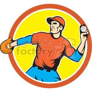 baseball fielder throwingball side CIRC clipart. Royalty-free image # 394534