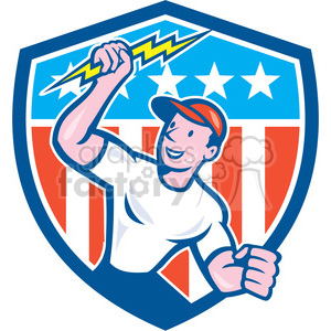 electrician lightning bolt standing usa flag crest