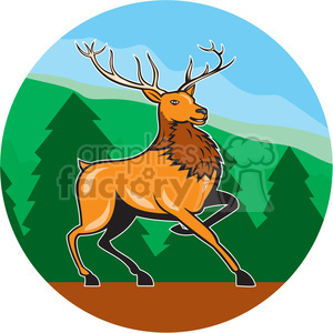 red deer marching FOREST MOUNTAINS CIRC clipart. Commercial use image # 394554