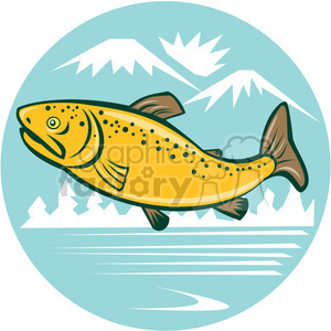 brown trout side JUMPING mountains lake CIRCLE clipart. Commercial use image # 394584