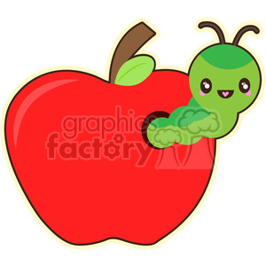 cute cartoon worm caterpillar green apple