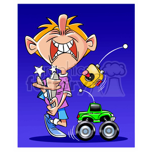 kid playing with radio controlled truck clipart. Royalty-free image # 394764