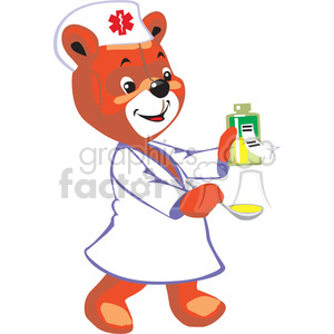 Nurse teddy bear holding a spoon and a bottle with medicine clipart. Commercial use image # 370179