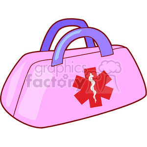 pink medical aid bag clipart. Commercial use image # 165826