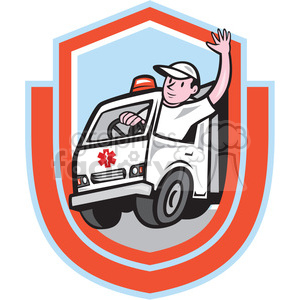 ambulance driver waving in shield shaped logo clipart. Royalty-free image # 391384