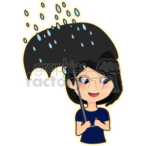 Umbrella Girl cartoon character vector image clipart. Commercial use image # 394877