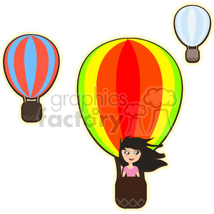 Hot air balloon girl cartoon character vector image clipart. Commercial use image # 394907