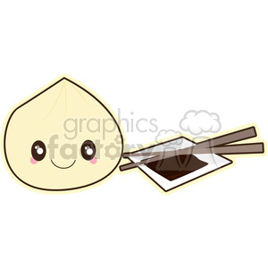 cartoon cute character asian food chop+sticks dumpling chinese