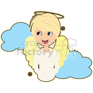 Angel boy in blue clouds cartoon character vector image clipart. Royalty-free image # 394967