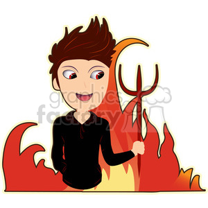Devil boy cartoon character vector image clipart. Royalty-free icon # 394977
