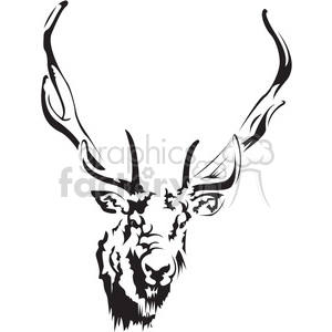 black and white deer head clipart. Commercial use image # 394992