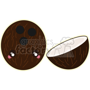 Coconut cartoon character vector clip art image clipart. Commercial use image # 395013