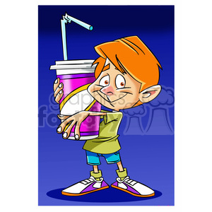kid holding large soda clipart. Commercial use image # 395060
