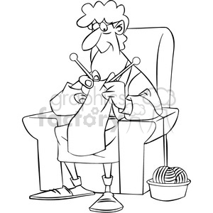 older women knitting black and white clipart. Royalty-free image # 395130