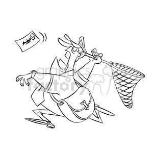 postal man chasing mail with a net black and white