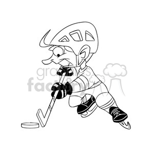 cartoon hocky player black and white clipart. Commercial use image # 395150