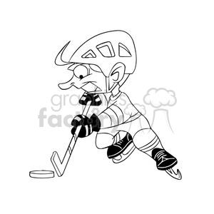 cartoon hocky player black and white