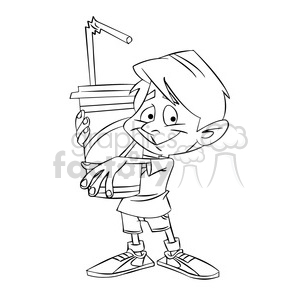 kid holding large soda black and white clipart. Royalty-free image # 395170