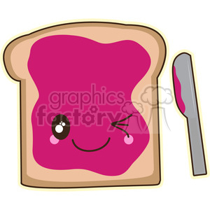 cartoon character cute illustration toast bread breakfast jam jelly food