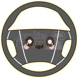 Steering wheel cartoon character vector clip art image clipart. Royalty-free image # 395259