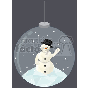 Low poly snowman snow globe cartoon character vector clip art image geometric