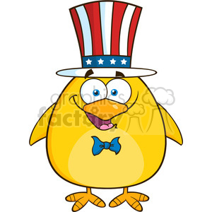Royalty Free RF Clipart Illustration Patriotic Yellow Chick Cartoon Character Vector Illustration Isolated On White clipart. Commercial use image # 395281