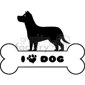Royalty Free RF Clipart Illustration Dog Black Silhouette Over Bone With Text And Love Paw Print Vector Illustration Isolated On White Background clipart. Commercial use image # 395291