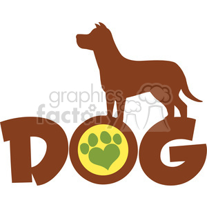 Royalty Free RF Clipart Illustration Dog Brown Silhouette Over Text With Green Love Paw Print Vector Illustration Isolated On White Background clipart. Commercial use image # 395301