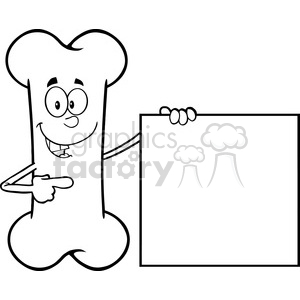 Royalty Free RF Clipart Illustration Black And White Happy Bone Cartoon Mascot Character Showing A Blank Sign