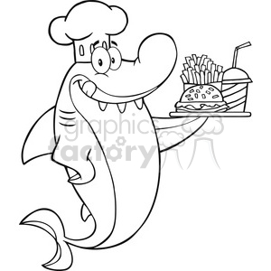 Royalty Free RF Clipart Illustration Black And White Chef Shark Cartoon Character Holding A Plate Of Hamburger And French Fries clipart. Commercial use image # 395321