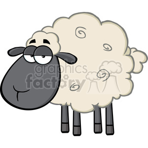 Royalty Free RF Clipart Illustration Cute Black Head Sheep Cartoon Mascot Character clipart. Commercial use image # 395331