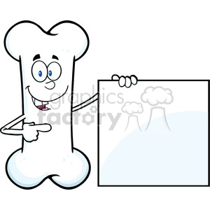 Royalty Free RF Clipart Illustration Happy Bone Cartoon Mascot Character Showing A Blank Sign