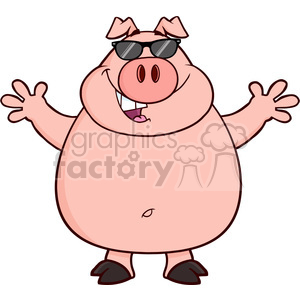Royalty Free RF Clipart Illustration Happy Pig Cartoon Mascot Character With Sunglasses And Open Arms For Hugging clipart. Royalty-free image # 395361