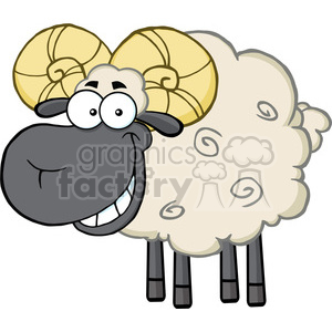 Royalty Free RF Clipart Illustration Smiling Black Head Ram Sheep Cartoon Mascot Character clipart. Royalty-free image # 395371