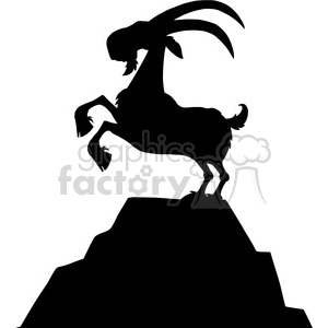 Royalty Free RF Clipart Illustration Black Goat Silhouette On Top Of A Mountain Peak Isolated On White Background clipart. Royalty-free image # 395391