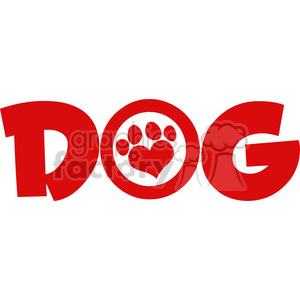 Dog Red Text With Love Paw Print Vector Illustration Isolated On White Background