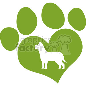Royalty Free RF Clipart Illustration Green Love Paw Print With Dog Silhouette clipart. Commercial use image # 395411