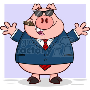 7161 Royalty Free RF Clipart Illustration Businessman Pig With Sunglasses Cigar And Open Arms clipart. Commercial use image # 395421
