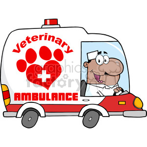 Royalty Free RF Clipart Illustration Afro American Doctor Driving Veterinary Ambulance clipart. Commercial use image # 395431