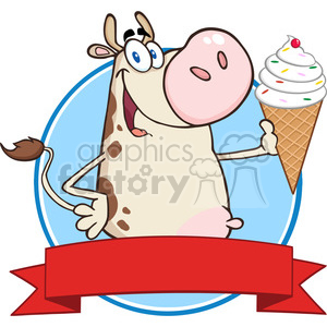 Royalty Free RF Clipart Illustration Happy Cow Cartoon Mascot Character Holding A Ice Cream Circle Banner clipart. Royalty-free image # 395451