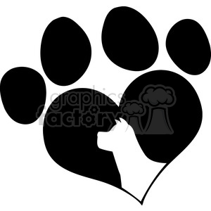 Royalty Free RF Clipart Illustration Black Love Paw Print With Dog Head Silhouette clipart. Commercial use image # 395481