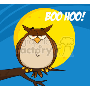 Royalty Free RF Clipart Illustration Owl On Tree In The Night With Text clipart. Royalty-free image # 395561