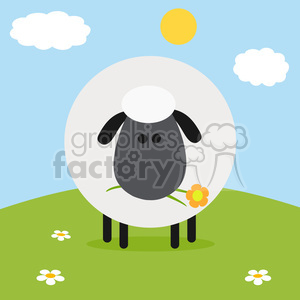 8231 Royalty Free RF Clipart Illustration Cute Black Head Sheep With Flower On A Hill Modern Flat Design Vector Illustration clipart. Royalty-free image # 395591