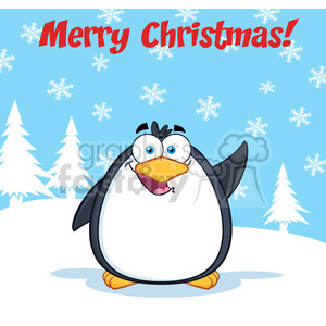 Royalty Free RF Clipart Illustration Merry Christmas Greeting With Funny Penguin Cartoon Character Waving clipart. Royalty-free image # 395601