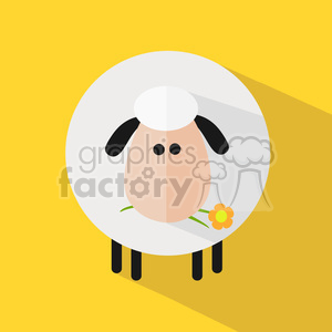 8226 Royalty Free RF Clipart Illustration Cute White Sheep With A Flower Modern Flat Design Vector Illustration clipart. Royalty-free image # 395611