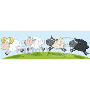 Royalty Free RF Clipart Illustration White Ram Sheep Leading Three Sheeps clipart. Royalty-free image # 395631