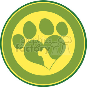 Illustration Love Paw Print Green Circle Banner Design With Dog Head Silhouette clipart. Royalty-free image # 395661