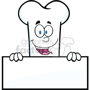 Royalty Free RF Clipart Illustration Smiling Bone Cartoon Mascot Character Over A Blank Sign clipart. Commercial use image # 395681
