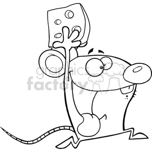 Black and White Happy Mouse Cartoon Mascot Character Running With Cheese clipart. Royalty-free image # 395691