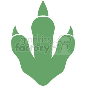 8768 Royalty Free RF Clipart Illustration Dinosaur Green Paw Print Vector Illustration Isolated On White Background